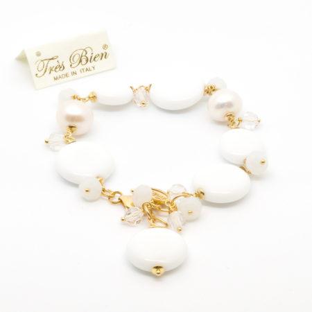BR-F418 Bracciale in aulite, perle di acqua dolce e cristalli.