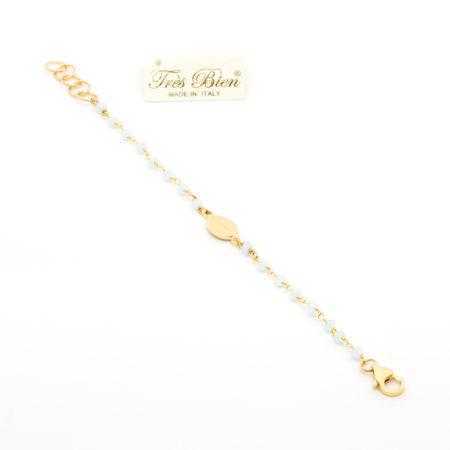 BR-F529 CL Bracciale rosario realizzato in metallo e cristalli. Colore celeste.