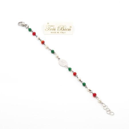 BR-F530 MLT Bracciale rosario realizzato in metallo, perline e pietra dura. Multicolor