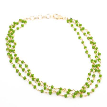 CO-F432 VE Collana girocollo realizzata in cristalli. Colore verde. Lunghezza aperta cm 41 allungabile fino a cm 44,5