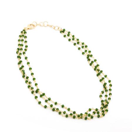 CO-F432 VEST Collana girocollo realizzata in cristalli. Colore verde scuro trasparente. Lunghezza aperta cm 41 allungabile fino a cm 44,5