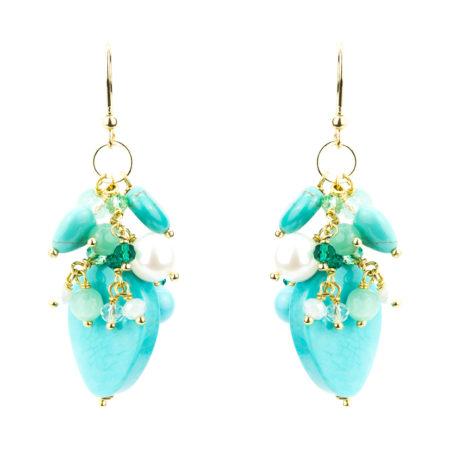 OR-F547 TUR Orecchini realizzati in aulite, pasta di turchese, perle, cristalli e vetro. Colore turchese.