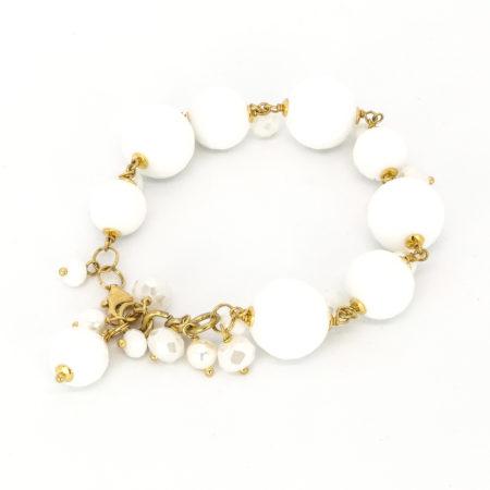 Bracciale in ossidiana, perline e cristalli. Lunghezza 21/23 cm
