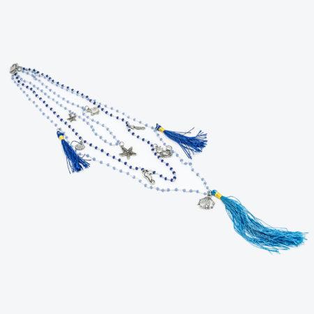 Collana realizzata in zamac e cristalli con nappa colorata. Lunghezza 48 cm