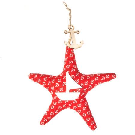 Appendino stella marina realizzata in tessuto e legno. Altezza al punto massimo 45sm. Lunghezza al punto massimo 28 cm.