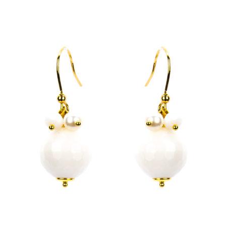 Orecchini in ossidiana, perle e cristalli.Lunghezza 4cm